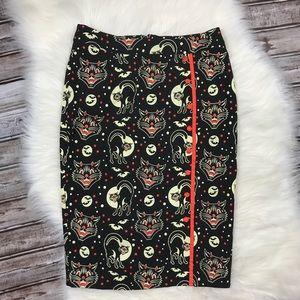 NWT Sourpuss Halloween Jinx Cat Pencil Skirt